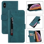 Reverse Buckle Horizontal Flip PU Leather Case with Holder & Card Slot & Wallet For iPhone XS / X(Lake Blue)