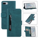 Reverse Buckle Horizontal Flip PU Leather Case with Holder & Card Slot & Wallet For iPhone 8 Plus / 7 Plus(Lake Blue)