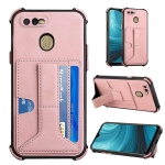 For OPPO A7 / A5s / A12 / A11k Dream PU + TPU Four-corner Shockproof Back Cover Case with Card Slots & Holder(Rose Gold)