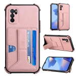 For OPPO A16 Dream PU + TPU Four-corner Shockproof Back Cover Case with Card Slots & Holder(Rose Gold)