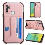 For OPPO A53 / A33 2020 / A32 Dream PU + TPU Four-corner Shockproof Back Cover Case with Card Slots & Holder(Rose Gold)