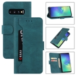 For Samsung Galaxy S10+ Reverse Buckle Horizontal Flip PU Leather Case with Holder & Card Slot & Wallet(Lake Blue)