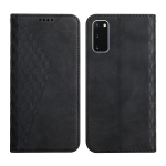 For Samsung Galaxy S20 Diamond Pattern Splicing Skin Feel Magnetic Horizontal Flip Leather Case with Card Slots & Holder & Wallet(Black)
