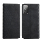 For Samsung Galaxy S20 FE Diamond Pattern Splicing Skin Feel Magnetic Horizontal Flip Leather Case with Card Slots & Holder & Wallet(Black)
