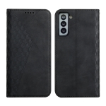 For Samsung Galaxy S21+ 5G Diamond Pattern Splicing Skin Feel Magnetic Horizontal Flip Leather Case with Card Slots & Holder & Wallet(Black)