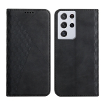 For Samsung Galaxy S21 Ultra 5G Diamond Pattern Splicing Skin Feel Magnetic Horizontal Flip Leather Case with Card Slots & Holder & Wallet(Black)