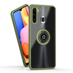 For Samsung Galaxy A21 Q Shadow 1 Series TPU + PC Protective Case with 360 Degrees Rotate Ring Holder(Army Green+Orange)