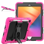 Shockproof Colorful Silica Gel + PC Protective Case with Holder & Shoulder Strap For iPad 10.2 2019 / 2020(Rose Red)