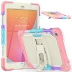 Shockproof Colorful Silica Gel + PC Protective Case with Holder & Shoulder Strap For iPad 10.2 2019 / 2020(Colorful Pink)