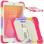 Shockproof Colorful Silica Gel + PC Protective Case with Holder & Shoulder Strap For iPad 10.2 2019 / 2020(Colorful Red)