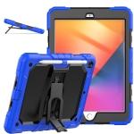 Shockproof Colorful Silica Gel + PC Protective Case with Holder & Shoulder Strap For iPad 10.2 2019 / 2020(Dark Blue)