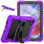 Shockproof Colorful Silica Gel + PC Protective Case with Holder & Shoulder Strap For Samsung Galaxy A7 Lite T220 / T225(Purple)