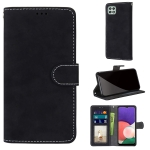 For Samsung Galaxy A22 5G Retro Frosted Horizontal Flip PU Leather Case with Holder & Card Slots & Wallet & Photo Frame(Black)