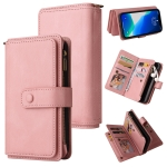 Skin Feel PU + TPU Horizontal Flip Leather Case with Holder & 15 Cards Slot & Wallet & Zipper Pocket & Lanyard For iPhone 13 Pro Max(Pink)