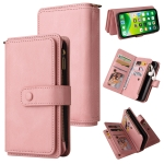 Skin Feel PU + TPU Horizontal Flip Leather Case with Holder & 15 Cards Slot & Wallet & Zipper Pocket & Lanyard For iPhone 13(Pink)
