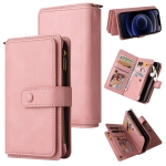 Skin Feel PU + TPU Horizontal Flip Leather Case with Holder & 15 Cards Slot & Wallet & Zipper Pocket & Lanyard For iPhone 12 mini(Pink)