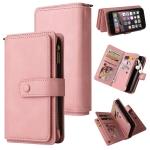 Skin Feel PU + TPU Horizontal Flip Leather Case with Holder & 15 Cards Slot & Wallet & Zipper Pocket & Lanyard For iPhone SE 2020 / 8 / 7(Pink)
