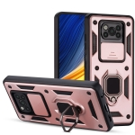 For Xiaomi Poco X3 Warrior Armor Sliding Camera Cover Design TPU + PC Shockproof Case with Ring Holder(Rose Gold)