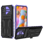 For Samsung Galaxy A02s US Version Armor Card PC + TPU Shockproof Case with Card Slot & Invisible Holder(Purple)