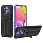 For Samsung Galaxy A03s Armor Card PC + TPU Shockproof Case with Card Slot & Invisible Holder(Purple)