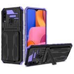 For Samsung Galaxy A20s Armor Card PC + TPU Shockproof Case with Card Slot & Invisible Holder(Purple)