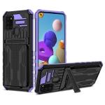 For Samsung Galaxy A21s Armor Card PC + TPU Shockproof Case with Card Slot & Invisible Holder(Purple)
