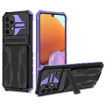 For Samsung Galaxy A32 4G Armor Card PC + TPU Shockproof Case with Card Slot & Invisible Holder(Purple)