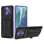 For Samsung Galaxy Note 20 Armor Card PC + TPU Shockproof Case with Card Slot & Invisible Holder(Purple)