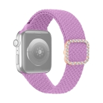 Adjustable Nylon Braided Elasticity Diamond Buckle Replacement Strap Watchband For Apple Watch Series 7 & 6 & SE & 5 & 4 44mm/3 & 2 & 1 42mm(Purple)
