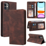 Simple Suction Closure Horizontal Flip Leather Case with Holder & Card Slot & Wallet For iPhone 11(Brown)