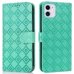 Embossed Big Small Concentric Squares Pattern Horizontal Flip Leather Case with Card Slot & Holder & Wallet For iPhone 13(Green)