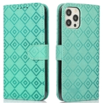 Embossed Big Small Concentric Squares Pattern Horizontal Flip Leather Case with Card Slot & Holder & Wallet For iPhone 12 / 12 Pro(Green)