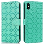 Embossed Big Small Concentric Squares Pattern Horizontal Flip Leather Case with Card Slot & Holder & Wallet For iPhone XR(Green)