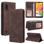 For Samsung Galaxy A01 EU Version Simple Suction Closure Horizontal Flip Leather Case with Holder & Card Slot & Wallet(Brown)