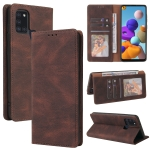 For Samsung Galaxy A21s Simple Suction Closure Horizontal Flip Leather Case with Holder & Card Slot & Wallet(Brown)