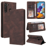 For Samsung Galaxy A21 EU Version Simple Suction Closure Horizontal Flip Leather Case with Holder & Card Slot & Wallet(Brown)
