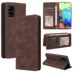 For Samsung Galaxy A71 5G Simple Suction Closure Horizontal Flip Leather Case with Holder & Card Slot & Wallet(Brown)