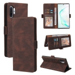 For Samsung Galaxy Note10+ Simple Suction Closure Horizontal Flip Leather Case with Holder & Card Slot & Wallet(Brown)