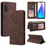 For Xiaomi Redmi Note 8T Simple Suction Closure Horizontal Flip Leather Case with Holder & Card Slot & Wallet(Brown)