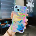Laser Marble Pattern Clear TPU Shockproof Protective Case For iPhone 13 Pro(Blue)