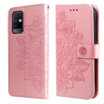 For Infinix Note 10 7-petal Flowers Embossing Pattern Horizontal Flip PU Leather Case with Holder & Card Slots & Wallet & Photo Frame(Rose Gold)