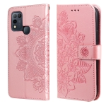 For Infinix Hot 10 Play 7-petal Flowers Embossing Pattern Horizontal Flip PU Leather Case with Holder & Card Slots & Wallet & Photo Frame(Rose Gold)
