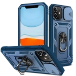 Sliding Camera Cover Design TPU + PC Protective Case with 360 Degree Rotating Holder & Card Slot For iPhone 12 mini(Blue+Blue)