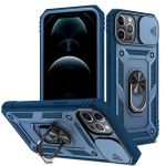 Sliding Camera Cover Design TPU + PC Protective Case with 360 Degree Rotating Holder & Card Slot For iPhone 12 Pro Max(Blue+Blue)
