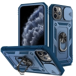 Sliding Camera Cover Design TPU + PC Protective Case with 360 Degree Rotating Holder & Card Slot For iPhone 11 Pro(Blue+Blue)