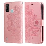 For Tecno Spark 6 Go 7-petal Flowers Embossing Pattern Horizontal Flip PU Leather Case with Holder & Card Slots & Wallet & Photo Frame(Rose Gold)