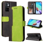 For Xiaomi Redmi 10 Business Stitching-Color Horizontal Flip PU Leather Case with Holder & Card Slots & Photo Frame(Green)