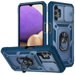 For Samsung Galaxy A32 5G Sliding Camera Cover Design TPU + PC Protective Case with 360 Degree Rotating Holder & Card Slot(Blue+Blue)