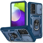For Samsung Galaxy A52 Sliding Camera Cover Design TPU + PC Protective Case with 360 Degree Rotating Holder & Card Slot(Blue+Blue)