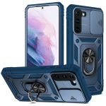 For Samsung Galaxy S21 5G Sliding Camera Cover Design TPU + PC Protective Case with 360 Degree Rotating Holder & Card Slot(Blue+Blue)
